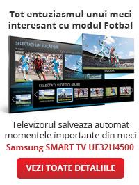 Tot entuziasmul unui meci interesant cu modul Fotbal. Televizorul salveaza automat momentele importante din meci